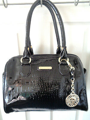 d1f82224db2e Anne Klein Black Moc Croc Patent Leather Hand Bag with Logo Key Chain
