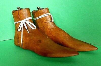 Antique Vintage English Shoe Trees Forms Edwardian Wood & Brass C. 1910-1920's