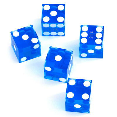 19mm AAA Grade Serialized Casino Craps Dice(Set of 5) - Blue. Free Shipping!