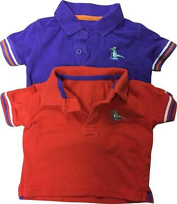 PRE-OWNED Boys Mothercare 2x Purple & Red Mix Polo Tops Size 6-9 Months