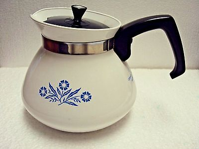 Vtg Corning Ware Blue Cornflower Pattern Tea Pot 6 Cup with Lid