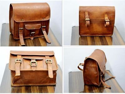 2 Side Pouch Brown Leather Motorcycle  Saddlebags Saddle Bag Panniers  handmade