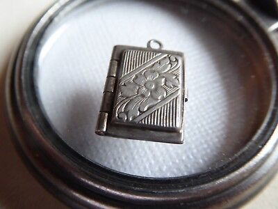 Vtg Sterling Art Deco Photo Locket Charm OPENS TO HOLD TWO PHOTOS