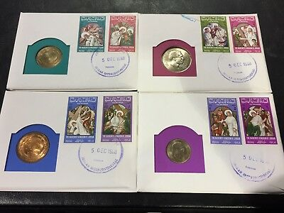 Lot/4 1968 Jordan 10/25/50/100 Fils First Day Cover Stamp/overprint/cancel