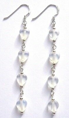 Sterling Silver MOONSTONE Semi Precious Gemstone Heart Long Drop Hook Earrings