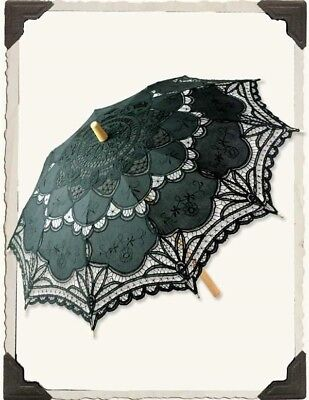 Victorian Trading Co Black Battenburg Lace Parasol Umbrella & Bamboo Handle