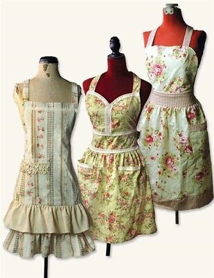 Shabby Chic Vintage Floral Aprons 100% Cotton Set of 3 Free Ship NIB