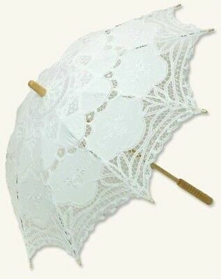 "Victorian Trading Co Battenberg White Lace Parasol 39"" diameter Free Ship NIB"