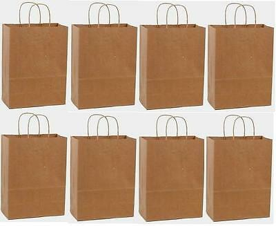 50 10x5x13 Kraft Brown Paper Gift Merchandise Carry Retail Handle Shopping Bags