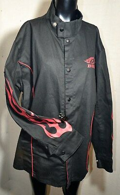 Revco Industries BSX Fire resistant Welding Black w/ Red Flames Jacket X- Large