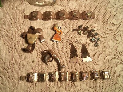 Vintage 8 Pieces Mexico Sterling .925 Jewelry-Bracelets-Brooches