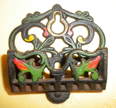 Vintage Cast Iron Ornate Match Holder Wall Mount