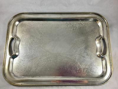 Vintage Rectangular Silver Plated Engraved Serving Tray Forbes Silver Co 16x12