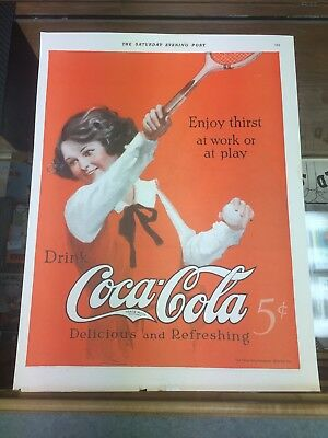 Coca Cola Color Ad Tennis 1923 Ready for Framing DuPont Ad On Reverse