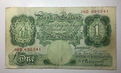 Great Britain One Pound Note 1934-1939 Wartime Bank Of England Note