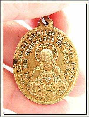 ANTIQUE 1900's IMMACULATE CONCEPTION & SACRED HEART JESUS BRONZE MEDAL !SEE MORE
