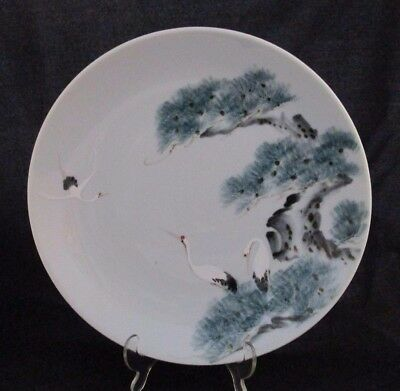 Antique Japanese Celadon Hand Painted Cranes Charger Plate 12.5""