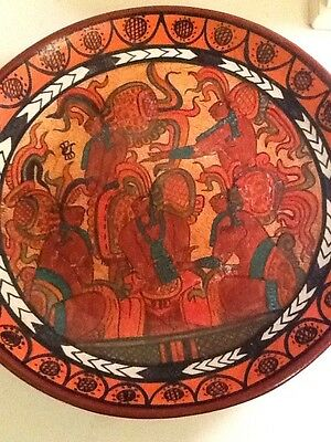 """Vintage Hand Painted Clay Pottery Mexican Wall Art Ready To Hang  13 1/2"""" Wide"""