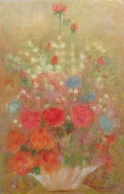 VintageFrench Oil Painting, Bouquet of Flowers, Signed