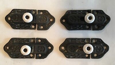 4 Vintage Cast Iron Cabinet Slide Latches with Porcelain Knobs