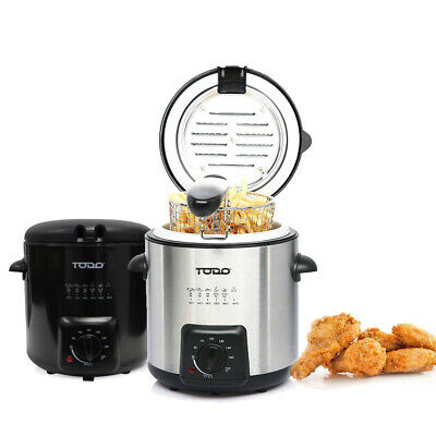 0.9L Deep Fryer Stainless Steel Housing Adjustable Thermostat Dial Basket