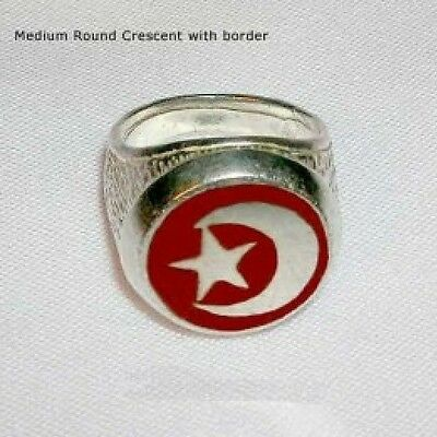 Islamic Muslim Round Crescent Sterling Silver Ring R-60
