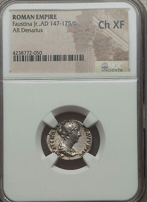 Roman Empire Faustina Jr, NGC Choice XF ancient silver coin AR Denarius