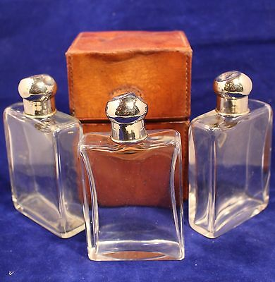 Set of 3 Blown & Cut Crystal Cologne Bottles in a Fitted Leather Case c. 1910