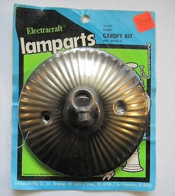 NEW NOS Vintage Electracraft Lamp Canopy Kit Ribbed Antique Brass Tone 5""