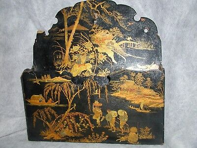 BEAUTIFUL VINTAGE Large Chinese Letter Holder Hand Painted Black Lacquer Gold