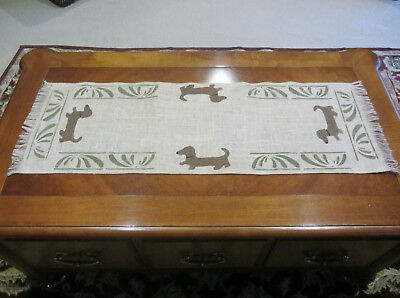 Hand made burlap Table runner with Red/Brown Dachshunds & designs 38 x 12 1/2 in