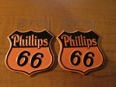 (2) Phillips 66 Gas Oil Service Station GASOLINE Metal Toolbox Mancave Magnets