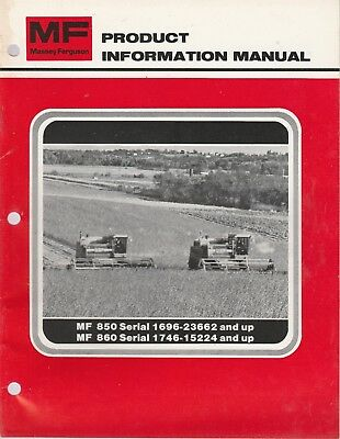 Massey Ferguson 850 & 860 Combine Dealer Product Information Manual