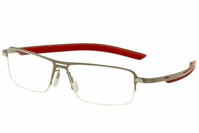 Tag Heuer Eyeglasses Line TH3823 002 Satin Silver/Red Optical Frame 57mm