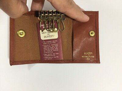Buxton Key Tainer Case Brown w Instruction Booklet Vtg / Leather Key Chain Ring