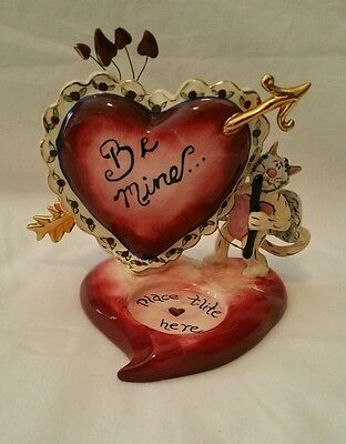 Heather Goldminc Cupid Cat Heart Be Mine Tealight Holder Blue Sky Clayworks 2003