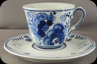 Hand Painted Delfts Blauw 210 Delft Blue Demi Tasse Cup and Saucer