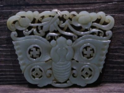 Chinese Exquisite Hand-carved natural hetian jade butterfly Pendant