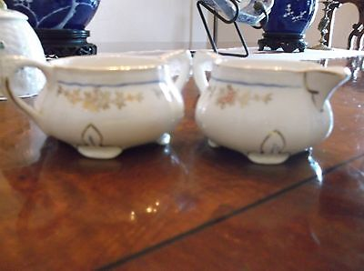 Alfred Meakin Creamer and Sugar Footed floral pattern