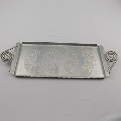 Vintage Farber & Shlevin Hand Wrought Aluminum Serving Tray Rectangle 1730