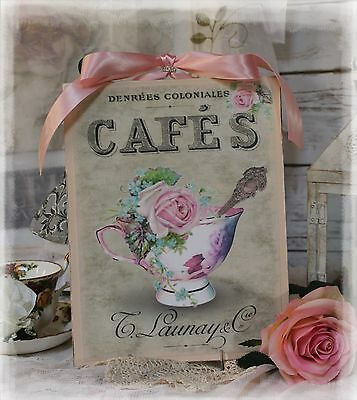 """~ Shabby Chic ~ Vintage ~ Country Cottage style ~ Wall Decor Sign """"Tea Cup"""" ~"""
