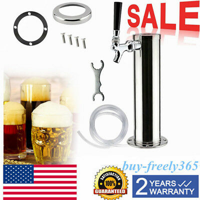 Single Tap Stainless Steel Draft Beer Keg Tap Tower Home Brew Kegerator Chrome