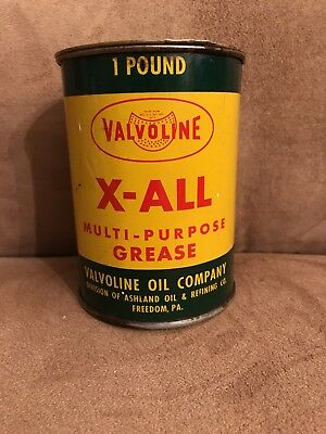 Vintage Valvoline Green and Yellow 1 Pound Grease Can All Metal Nice Can