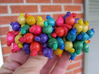 Vtg New Colorful Wood Bead Hair Barrette French Clip Folk Art Festival 70's 80's
