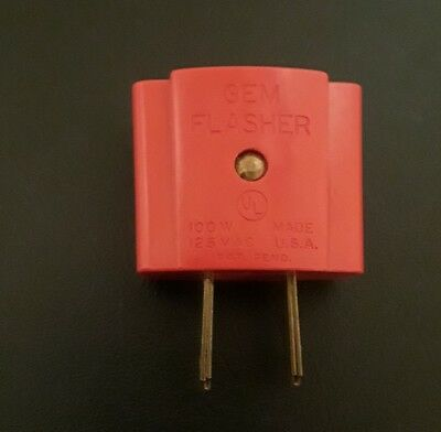 VTG GEM Flasher RED Christmas Light Blinker 100W 125V Electric Plug - USA