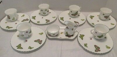 15pc Crown Staffordshire BUTTERFLY LUNCH SET  6 Cups 6 Plates Cream Sugar Tray