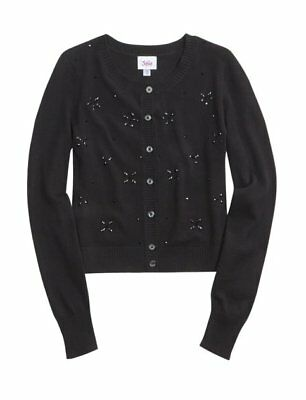 New Justice Girl Size 8 10 12 14 18 Black Button Down Embellish Cardigan Sweater