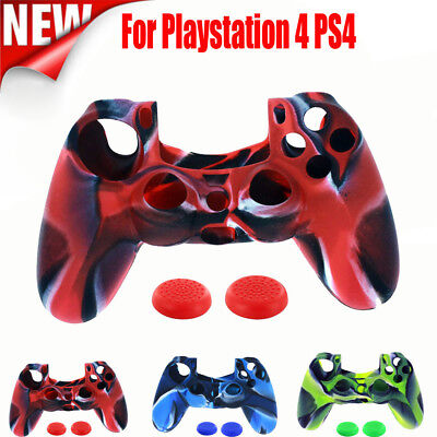 Silicone Rubber Soft Skin Gel Cover Case + Cap For PS4 Playstation 4 Controller