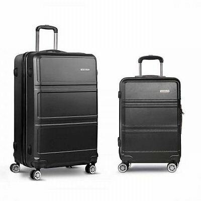 "NEW 2 pcs Lightweight Hard Shell Travel Luggage 20"" and 28"" with TSA Lock Black"