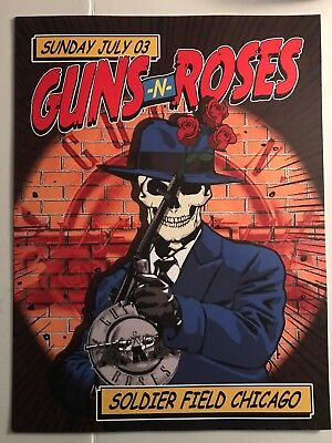 Guns and Roses Chicago Lithograph Poster Soldier Field 24x18